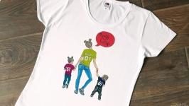 Летняя футболка для молодой мамочкм Ручная роспись