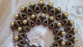 Колье, ожерелье золотистое из бисера ручной работы