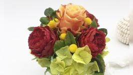 Цветы (букет) в чашке ручной работы из холодного фафора