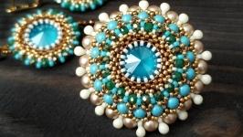 Брошь с кристалами и жемчугом Сваровски голубая плетеная
