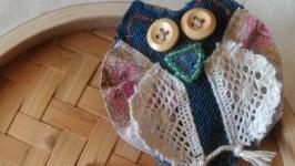 Джинсовая брошь ′ Мудрая сова′