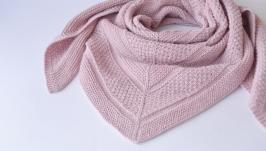 Розовый платок из мериноса и шерсти. Теплая шерстяная шаль. Вязаный бактус