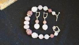 Браслет и серьги из розового и клубничного кварца