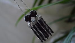 Серьги - цепочки  черные с агатом и чешским хрусталем ′Таинственность′