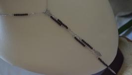 Колье с черным обсидианом  ′Дикий ангел′