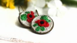 Серьги маки красные маленькие круглые серьги на лето