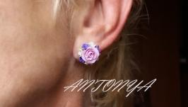 Серьги с цветами, для нее, подарок девушке
