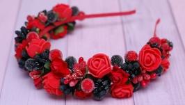 Обруч ободок под вышиванку красно-черный