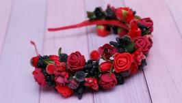 Обруч ободок под вышиванку красно-бордово-черный