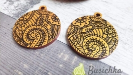 Wooden earrings gold-bronze
