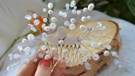 Свадебный гребень с жемчугом и перламутром ′Подснежники′