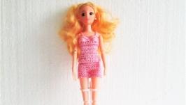 Летний комплект для куклы Барби - розовый топ и шорты