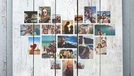 Коллаж из фотографий на досках