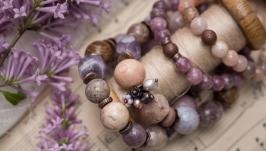 Комплект браслетов ′Туманная лаванда′