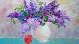 Картина маслом Цветущая сирень натюрморт цветы