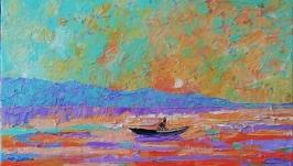 Картина маслом Закат на море. Лодка.