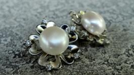 Серьги ′Pearl Flower′ - серебро, нат. жемчуг