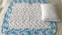Плюшевый комплект белый из пледа и подушки для малыша
