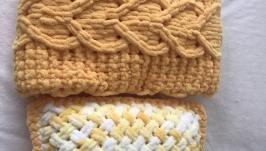 Плюшевый комплект желтый из пледа и подушки для малыша