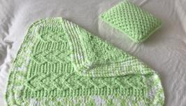 Плюшевый комплект салатовый из пледа и подушки для малыша