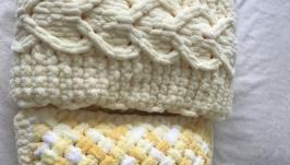Плюшевый комплект лимонный из пледа и подушки для малыша