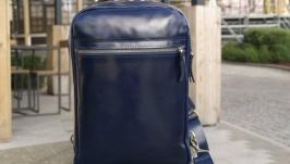 Небольшой кожаный рюкзак на 1 шлейку Синий