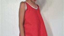 Детское летнее платье-туника красное в горошек