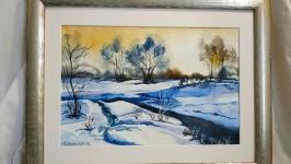 Пейзаж ′ Зимова краса′ картина акварель
