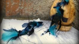 Серьги с перьями Синий водопад