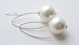 Срібні сережки з перлинами Майорка