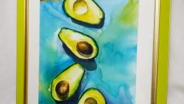 Картина ′ Авокадо′ акварель купити декор для кухні