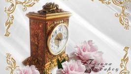 Часы настольные каминные   Золотые розы