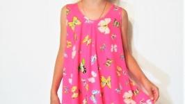 Детское летнее платье-туника розовое с бабочками