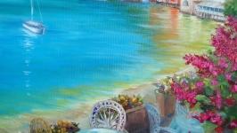 Картина маслом ′Улочка у моря′
