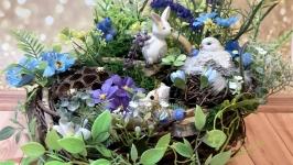 Декоративная композиция гнездо минисад подарок на новоселье день рождения
