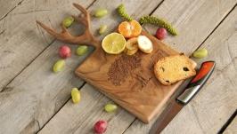 Кухонна дошка дощечка з дерева Разделочная доска для кухни продуктов «Рога»