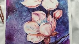 картина ′ Яблуневий цвіт′ акварель, живопис