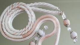Лариат ЗЕФИР - длинный тонкий бисерный жгут