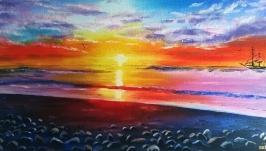 Картина маслом 20х40 Закат на море