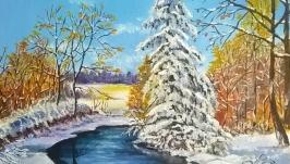 Картина маслом 30х30 Зима
