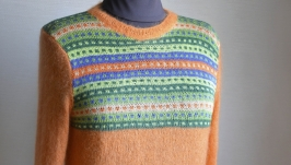 Пуловер ручной работы из кид-мохера и хлопка