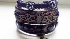 Кожаный браслет с бронзой