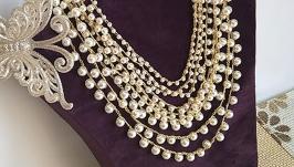 Жемчужное многослойное ожерелье, связано крючком,