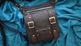 Черная кожаная сумка на ремне для мужчин ′Furmani′