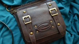 Коричневая кожаная сумка на ремне для мужчин ′Furmani′