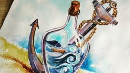 Картина - постер ′ Морські пригоди′ акварель