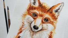 Картина′Лисичка′ Акварель, тварини скетч