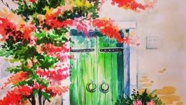 Картина ′ Італійский дворик′ акварель, скетч