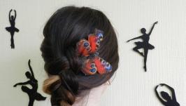 Гребень для волос Бабочка , необычный авторский гребень .
