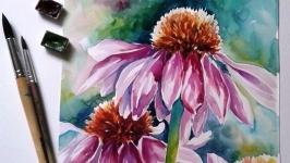 Картина ′Ехінацея′ літо , акварель, живопис